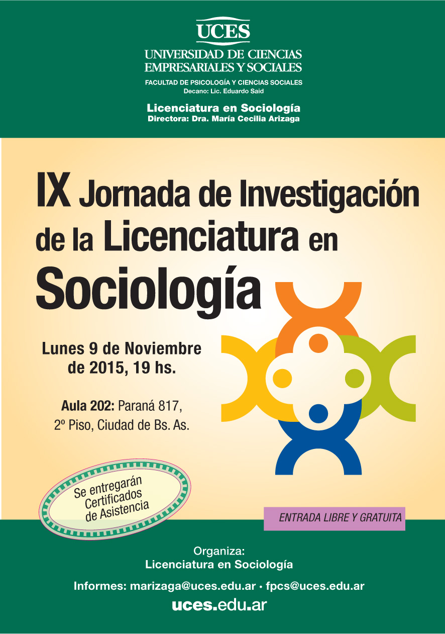AFICHETA IX JORNADA DE LA LICENCIATURA EN SOCIOLOGIA new